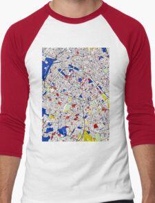 Paris - Mondrian Style Men's Baseball ¾ T-Shirt