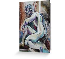 Seated Male Nude in Blues (Mixed Media Drawing)- Greeting Card