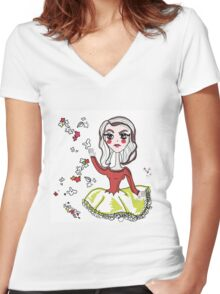 Baby chic doll Women's Fitted V-Neck T-Shirt