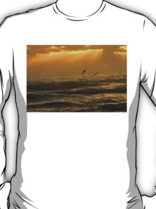 Pelicans flying over ocean waves during sunrise T-Shirt