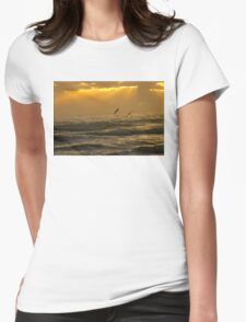Pelicans flying over ocean waves during sunrise T-Shirt