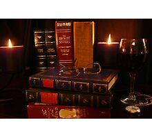 Books and Wine by Candlelight Photographic Print