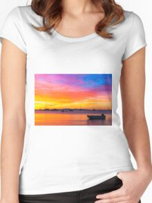 Amazing sunset on the ocean Women's Fitted Scoop T-Shirt