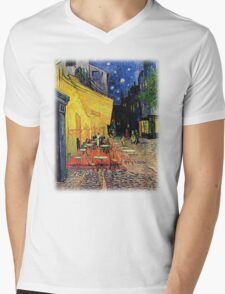 The Cafe Terrace on the Place du Forum, Arles, at Night,  Vincent van Gogh Mens V-Neck T-Shirt