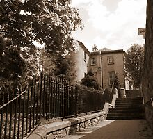 Steps leading to Cuddy Bridge, Peebles (photograph) by BillCowe