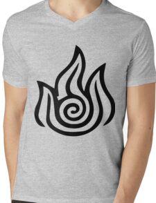Firebending Black Mens V-Neck T-Shirt