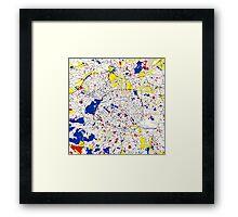 Paris Piet Mondrian Style City Street Map Art Framed Print