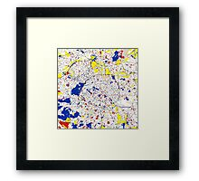 Paris Piet Mondrian Style City Street Map Art Framed Print