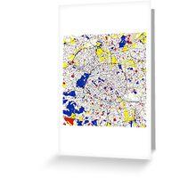 Paris Piet Mondrian Style City Street Map Art Greeting Card