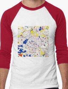 Paris Piet Mondrian Style City Street Map Art Men's Baseball ¾ T-Shirt