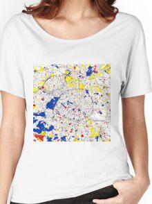 Paris Piet Mondrian Style City Street Map Art Women's Relaxed Fit T-Shirt