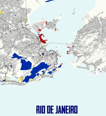 Rio de Janeiro Piet Mondrian Style City Street Map Art Sticker