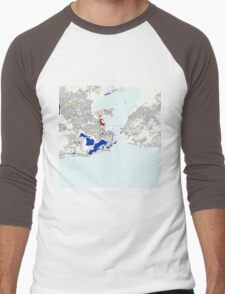 Rio de Janeiro Piet Mondrian Style City Street Map Art Men's Baseball ¾ T-Shirt