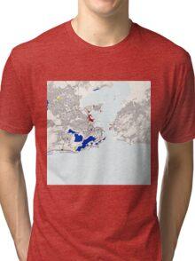 Rio de Janeiro Piet Mondrian Style City Street Map Art Tri-blend T-Shirt
