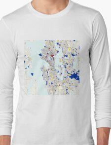 Seattle Piet Mondrian Style City Street Map Art Long Sleeve T-Shirt