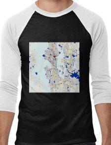 Seattle Piet Mondrian Style City Street Map Art Men's Baseball ¾ T-Shirt