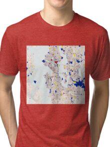 Seattle Piet Mondrian Style City Street Map Art Tri-blend T-Shirt