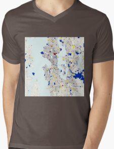 Seattle Piet Mondrian Style City Street Map Art Mens V-Neck T-Shirt