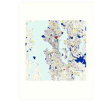 Seattle Piet Mondrian Style City Street Map Art Art Print