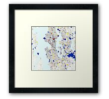 Seattle Piet Mondrian Style City Street Map Art Framed Print
