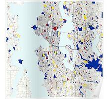 Seattle Piet Mondrian Style City Street Map Art Poster