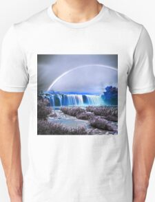 Rainbow over the waterfall infrared T-Shirt