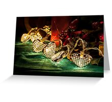 Christmas tree lights in a still life composition Greeting Card