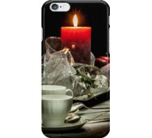Christmas still life composition on a black background iPhone Case/Skin