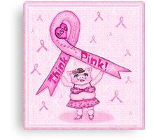 Pink Ribbon Pig For Awareness Art Poster Canvas Print