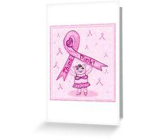 Pink Ribbon Pig For Awareness Art Poster Greeting Card
