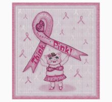Pink Ribbon Pig For Awareness T-Shirt by Jamie Wogan Edwards