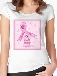 Pink Ribbon Pig For Awareness T-Shirt Women's Fitted Scoop T-Shirt