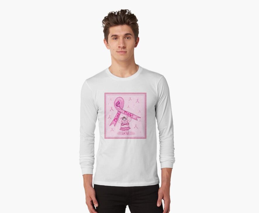 Pink Ribbon Pig For Awareness T-Shirt by Jamie Wogan Edwards