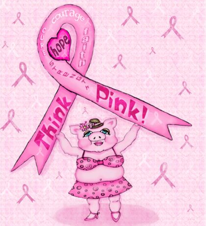 Pink Ribbon Pig For Awareness T-Shirt Sticker