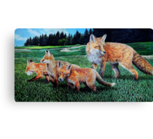 A Sly Foursome On The Fairway Canvas Print