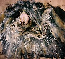Norwegian Forest Cat Acrylic On Paper Painting Pet Portrait Home Decor by JamesPeart