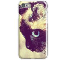 Siamese Cat Acrylic On Paper Painting Pet Portrait Home Decor iPhone Case/Skin
