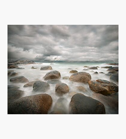 stone beach after the rain Photographic Print