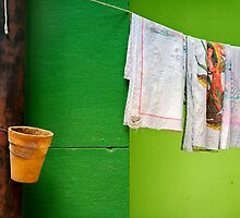 Vase, towels and green wall by Silvia Ganora