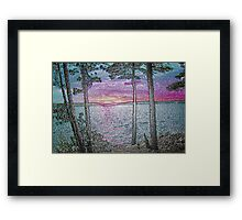 Lake Sunset-Colour Embossed -Available As Art Prints-Mugs,Cases,Duvets,T Shirts,Stickers,etc Framed Print