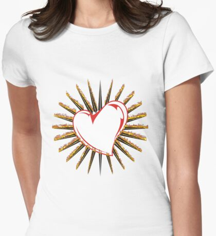Flaming heart Womens Fitted T-Shirt
