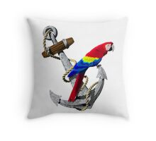 Parrot And Ship Anchor Throw Pillow