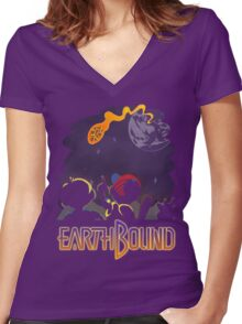 EARTHBOUND - First Steps Women's Fitted V-Neck T-Shirt
