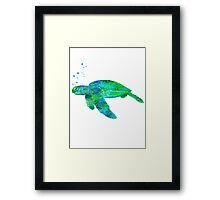 Sea Turtle And Bubbles Framed Print
