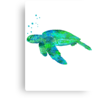 Sea Turtle And Bubbles Metal Print