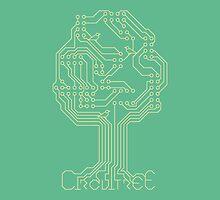 Circuit Tree - Gold on Green by designinvan
