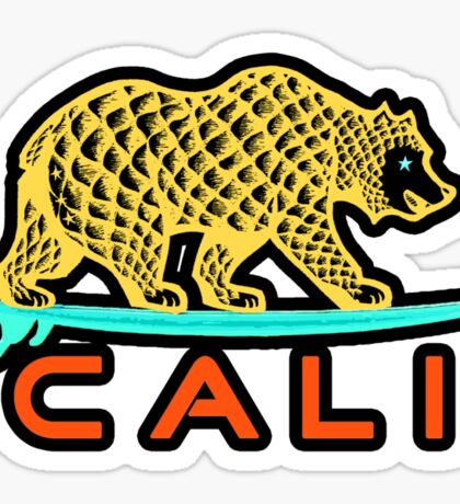 Cali Bear (Yellow with Black Border) Sticker