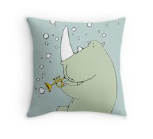 Rhino Blowing Bubbles Throw Pillow