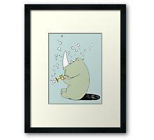 Rhino Blowing Bubbles Framed Print