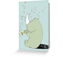 Rhino Blowing Bubbles Greeting Card